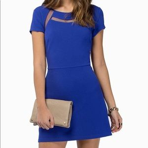 Cobalt Blue Short Sleeve, Mesh Cutout Mini Dress